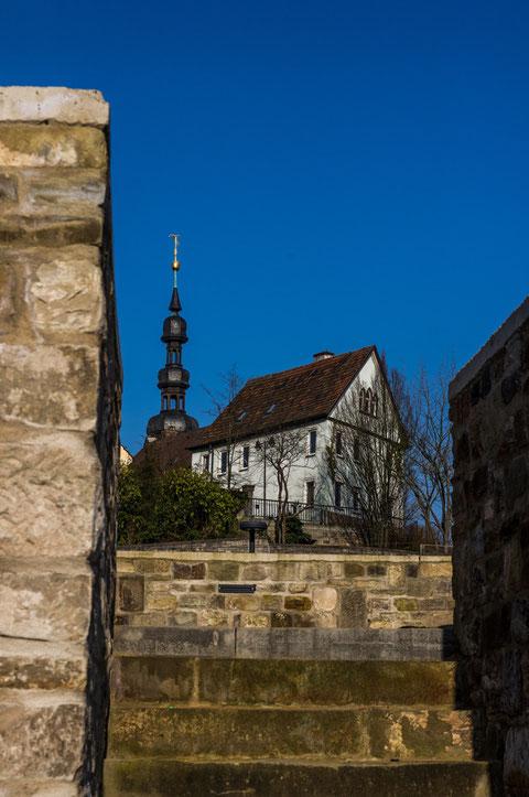 Blick von Stadtstrand auf St. Salvator