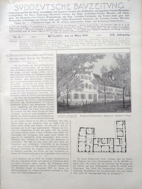 Die Planung des Pfarrhauses aus Süddeutscher Bauzeitung  Jahr 1909 - bitte vergrößern