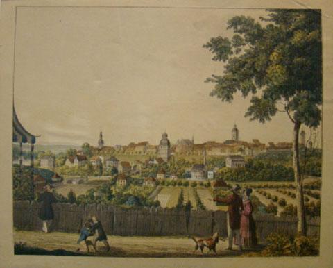 Schweinfurt von der Morgenseite (Osten) - Radierung 1835/1846 - Privatbesitz des Verfassers