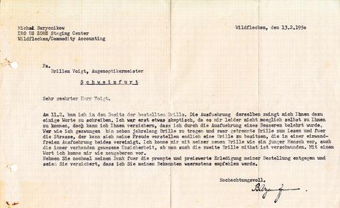 Dankesbrief aus dem Jahr 1950