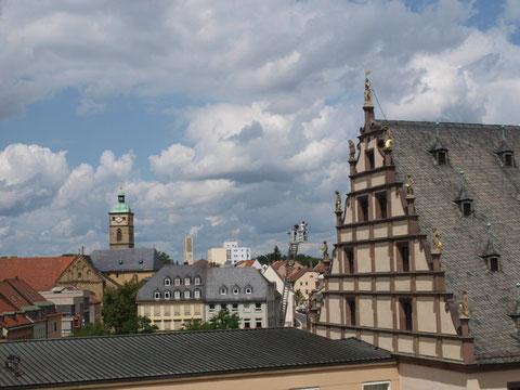 Blick von der Rathausdachterrasse