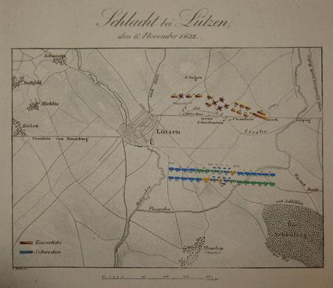 Schlacht bei Lützen - Stahlstich um 1840 - bitte vergrößern