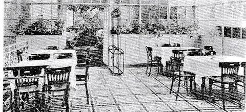 ca. 1920/33 - Der Wintergarten, dahionter Treppenaufgang an der Mainberger Straße zur Freigartenterrasse