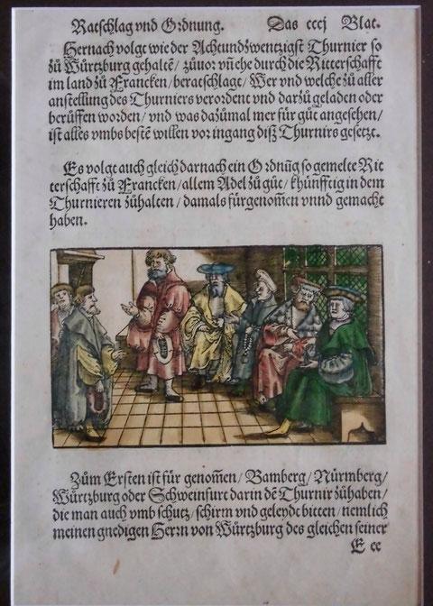 """Kolorierte Holzschnittseite aus einem Thurnierbuch  """"Ritterschaft in Franken""""   aus dem 16. Jahrhundert"""