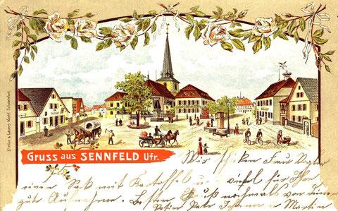 Gruß aus Sennfeld 1902. Ganz links die Handlung Rieß, nebenan die Handlung J. G. Pfister. Rechts das Rathaus mit Störchennest. Nach 1905 nisteten keine Störche mehr auf dem Rathaus