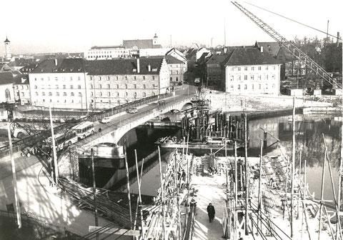 Neue Maxbrücke und die damals so genannte Unterführung Ost - vorher
