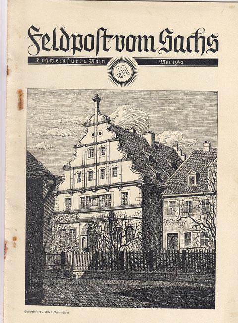 Altes Gymnasium und Stadtschreiberhaus auf der Feldpost der Fa. Sachs