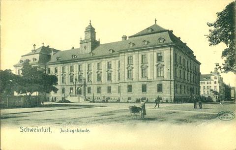 Blick vom Jägersbrunnen auf das Justizgebäude in der Rüfferstraße um 1905