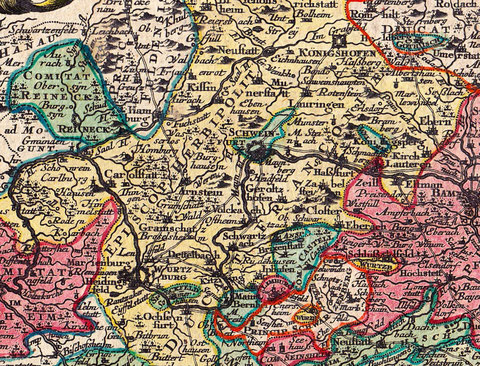 Ausschnitt aus vorstehender Landkarte aus dem Jahr 1769 bitte vergrößern!