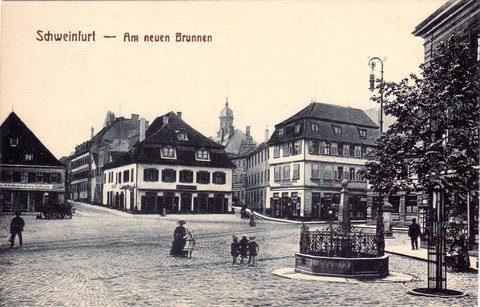 Schweinfurt Albrecht-Dürer-Platz Am neuen Brunnen - ca. 1890 - bitte durch Anklicken vergrößern