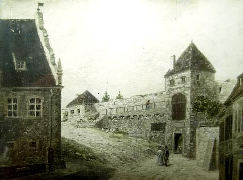 """vorne rechts der """"Neutor-Turm"""" (oft als """"Turm zur Schadschanze"""" bezeichnet) und hinten die Rückseite des """"Ausfallturms"""", links das Lebküchnerhaus"""