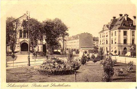 Schillerplatz mit altem Stadttheater (vormals freie christl. Gemeinde) Vorkriegszeit