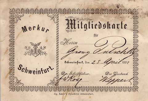Mitgliedskarte 1892