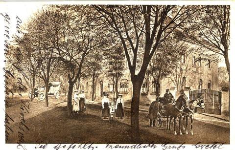 Gasthof Ludwigsbrücke um 1925. Der Baumbestand ist längst weg, er war damals der Anfang der heutigen Baumallee nach Sennfeld.