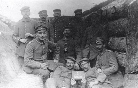 Schweinfurter Infant. Bat. in Russland, Schützengraben Winter 1917 am Serwetsch - Newda 3. Gruppe ..... (siehe Rückseite unten)