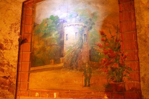 An einer Tür fand sich dieses Gemälde eines nicht beannten Turms am Oberen Wall aus dem Jahre 1882