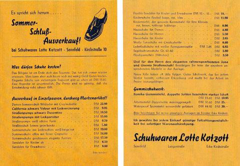 Reklame-Handzettel der Firma Schuhwaren Lotte Kotzott Kirchstraße 10