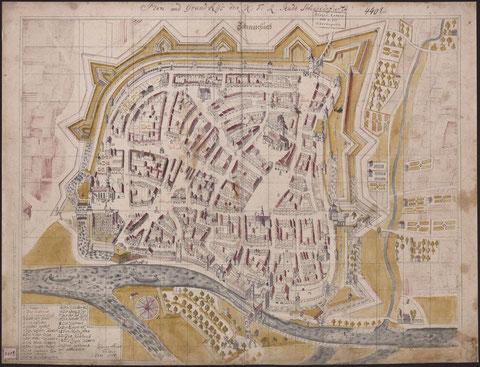 Tauber - 1771- Grundriss der Stadt Schweinfurt