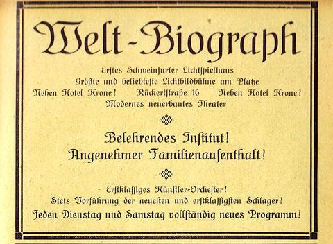 Reklame aus dem Jahr 1921 - mit Orchester(!) also Stummfilm!