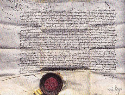 Genehmigung des Vertrags Stadt und Gemeinde Schweinfurt vom 6. Februar 1515 zur Regelung der Stadtverfassung nach dem Aufstand von 1513/14, unterzeichnet von Kaiser Max I. - Danke an das Stadtarchiv Schweinfurt