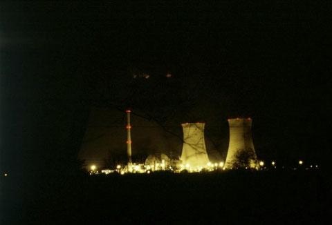 1983 vom Baggersee aus gesehen bei Nacht