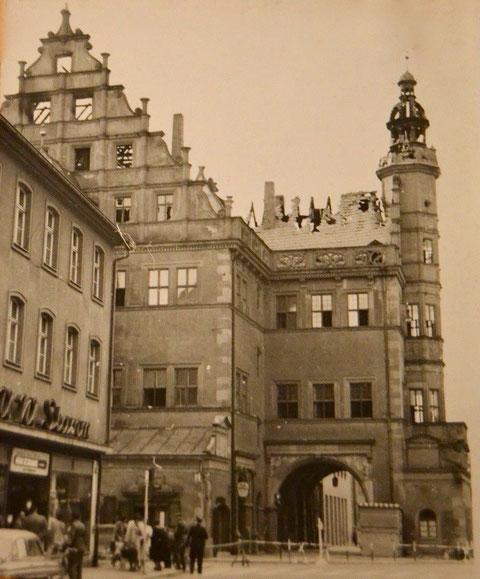 Nach dem Brand 1959 - Blick aus der Rückertstraße - links Kaufhaus Stamm