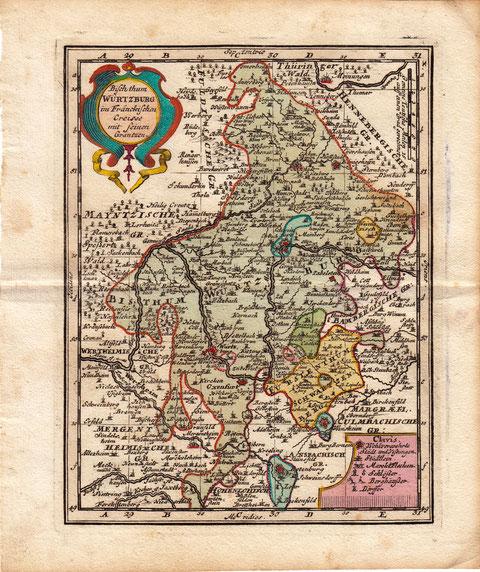 Karte Bistum Würzburg mit freier Reichsstadt Schweinfurt um 1700 - vergrößerbar!