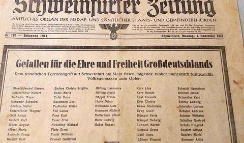 Schweinfurter Zeitung 1. Dezember 1943