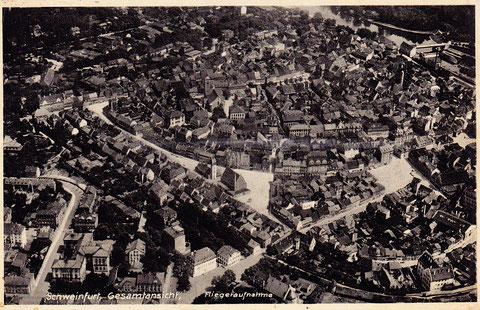 1936 - ganz unten rechte Mitte der Höpperlesturm mit Stadtmauer