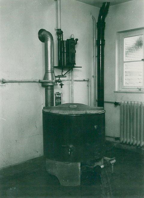 Gaswaschkessel in der Bezirkssparkasse in den 1930ern