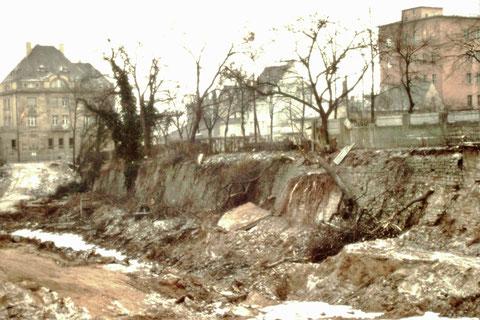 Baugrube für Kaufhaus Horten an der Rüfferstraße 1964