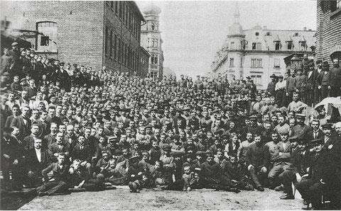 Belegschaft der Firma Fichtel & Sachs im Jahre 1902;  Foto: Stadtarchiv