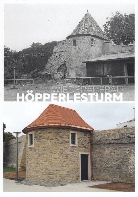 Der Turm wurde nicht in der zuletzt vorhandenen Form sondern in seiner ursprünglichsten Form wieder aufgebaut. Das einst auf dem Wall befindliche Häuschen wurde nicht mehr errichtet.