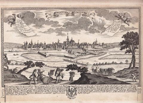 Schweinfurt um 1700 Originalkupferstich nach Leopold