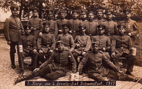 1. Korp. des 2. Ersatzbataillons Schweinfurt 1915 - Danke an Jürgen Häckner