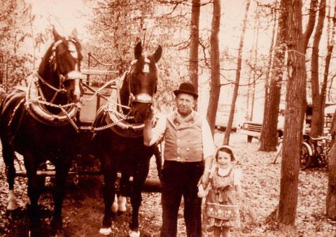 """1962 - Bierführer Johann Schneider mit seinen Rappen in Dittelbrunn an der Waldgeststätte """"Almrausch"""" anlässlich eines Waldfestes (Pferde mit Festgeschirr und Bierführer in Festkleidung)"""