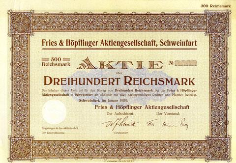 Aktie aus dem Jahr 1929 über 300 Reichsmark