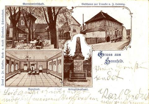 Das Gasthaus zur Traube im Jahre 1906. In Bildmitte ist das Denkmal für die Teilnehmer der Kriege 1866 und 1870-71. Das Denkmal wurde 1896 errichtet und stand vor der ev. Kirche. Heute steht es gegenüber Metzgerei Dorsch