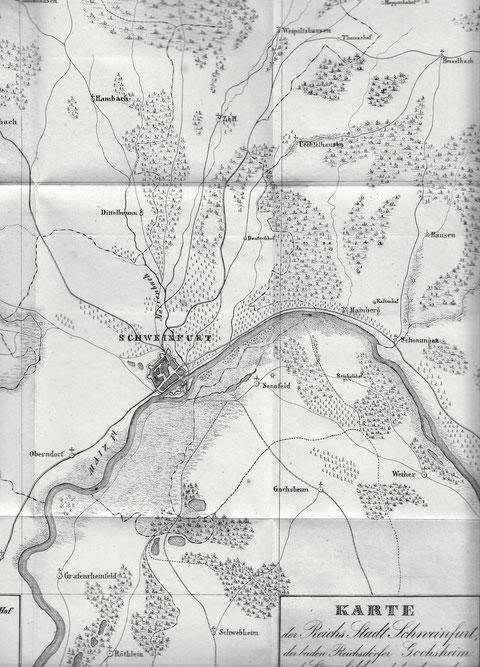 Karte der Reichsstadt Schweinfurt, der beiden Reichsdörfer Gochsheim und Sennfeld und der daran liegenden Ortschaften um 1800 - bitte vergrößern!