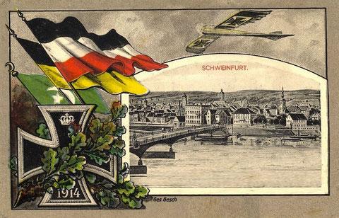Patriotische Kriegs-Ansichtskarte aus Schweinfurt 1914