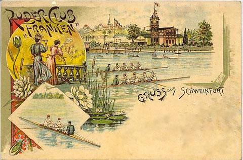 "Ruderclub mit ""neuem Bootshaus"" um 1900"