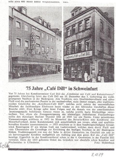 Aus der Schweinfurter Volkszeitung vom 08.Dezember 1979
