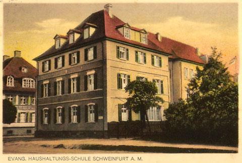 Evang. Haushaltsschule 1928 - An den Schanzen 4 /Ecke Niederwerrner Str.