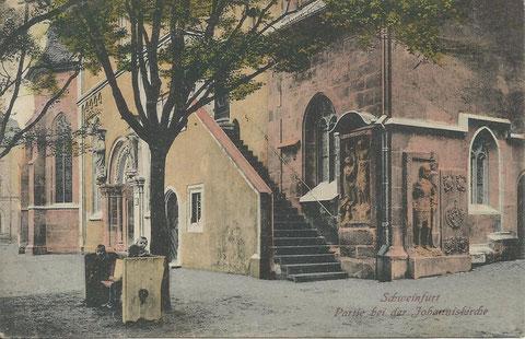 ca. 1925; einige Grabplatten befanden sich damals außen, heute sind sie in der Kirche