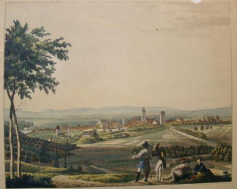 Schweinfurt von der Mitternachtsseite (Norden) - Radierung 1835/1846 - Privatbesitz des Verfassers