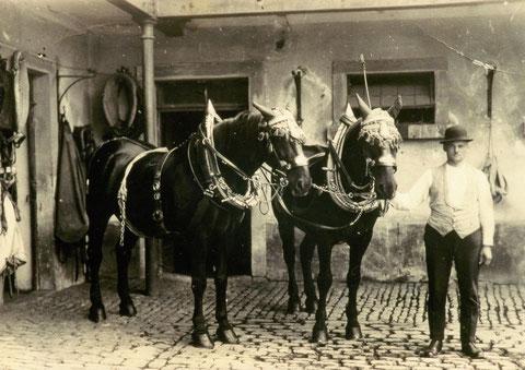 Rappengespann vor den Stallungen mit Bierführer Nikolaus Bienert