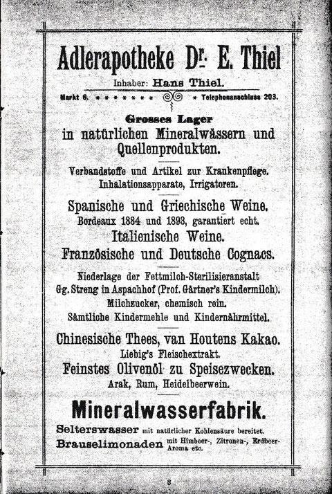 Aus dem Adressbuch 1904