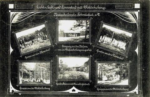 Licht-,  Luft- und Sonnenbad, Naturverein Schweinfurt um 1909. Die Vereinsanlagen befanden bzw. befinden sich innerhalb der Sennfelder Gemarkung