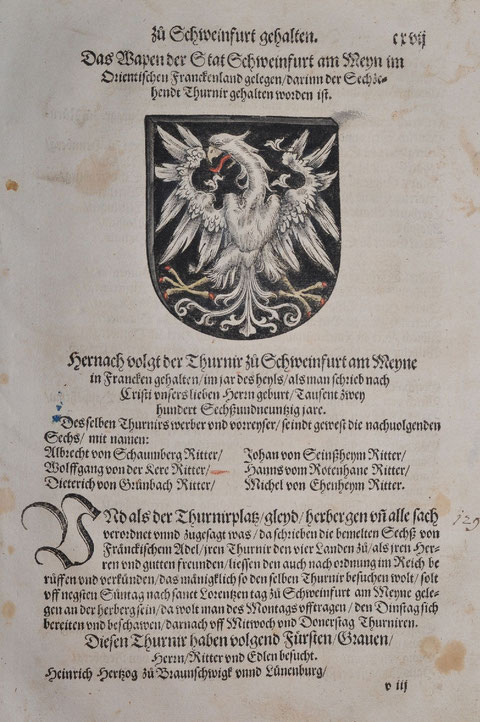 1530   Altkolorierter Holzschnitt, Blatt: 20 x 31  Blatt aus dem 'Thurnierbuch' von Georg Rüxner