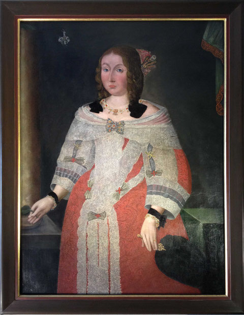 Agnes Sophie von Trampe [1618-1658] erste Gattin Christophs von Steinäcker: Ölgemälde im Besitz von Frau von Steinaecker, die das Foto des Porträts freundlicherweise dem schweinfurtfuehrer zur Verfügung gestellt hat
